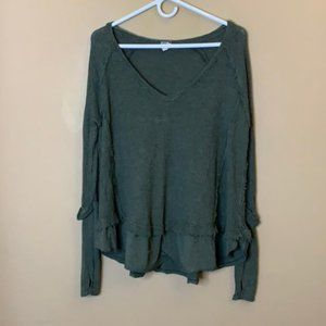 We the Free green oversized thermal top
